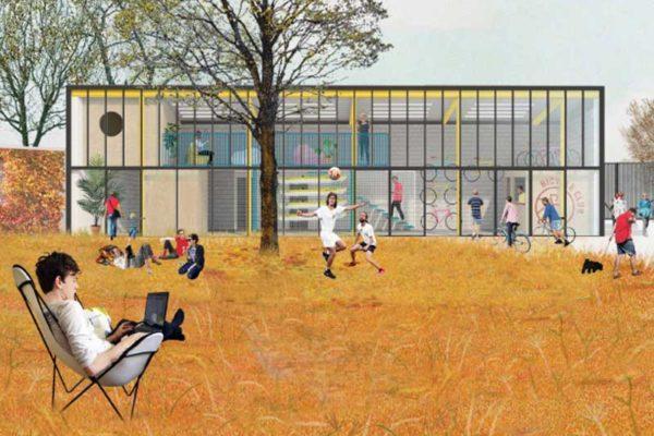 Eastriver progetto, giardino interno e ciclofficina